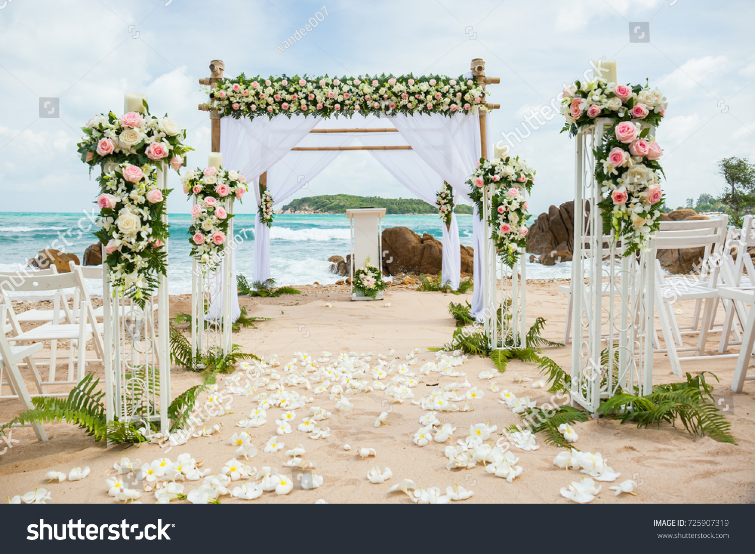 Beautiful Wedding Decorated On Beach Wedding Stock Photo (Edit Now)  725907319