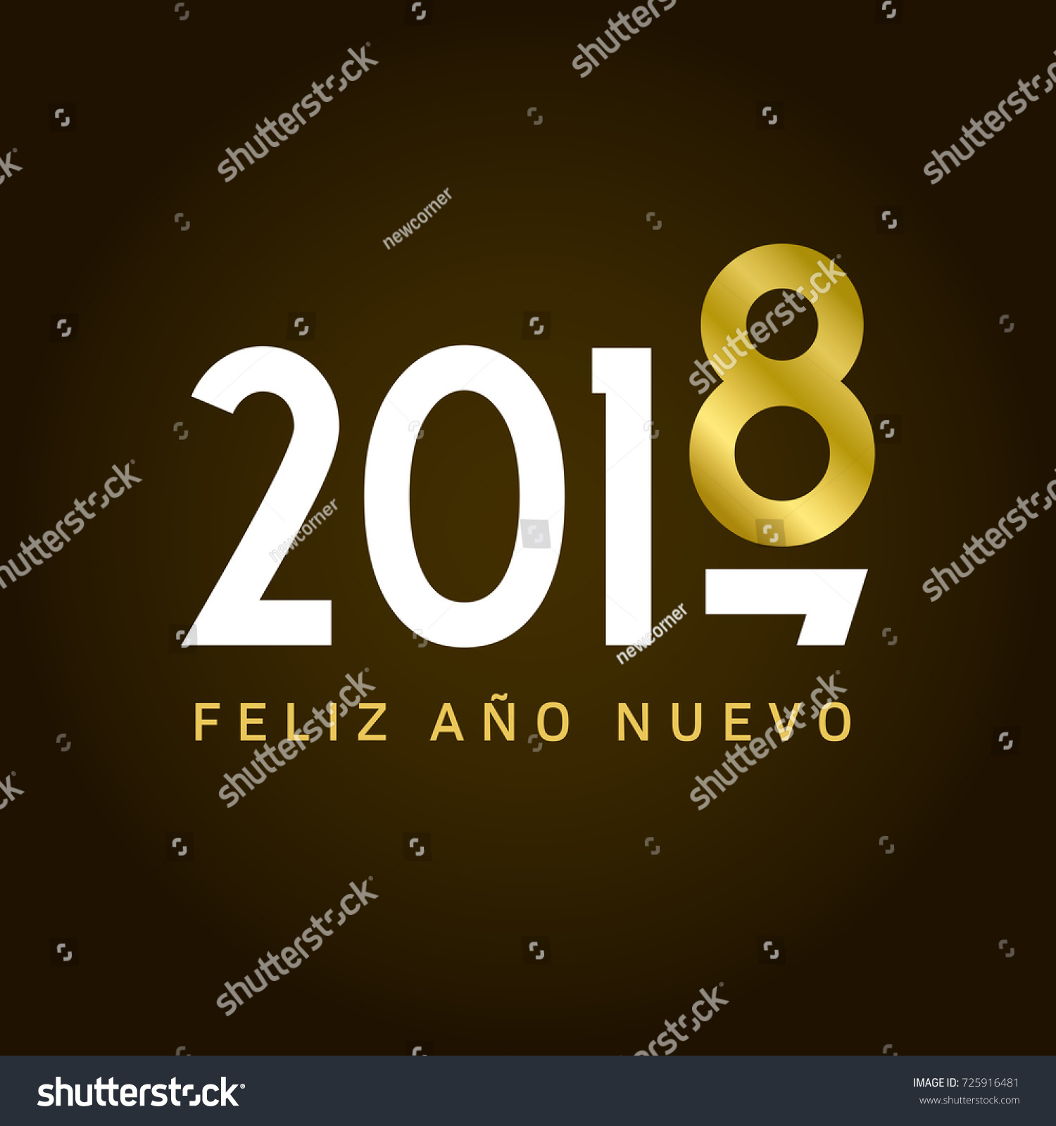 happy new year 2018 card movement type spanish version editable vector design