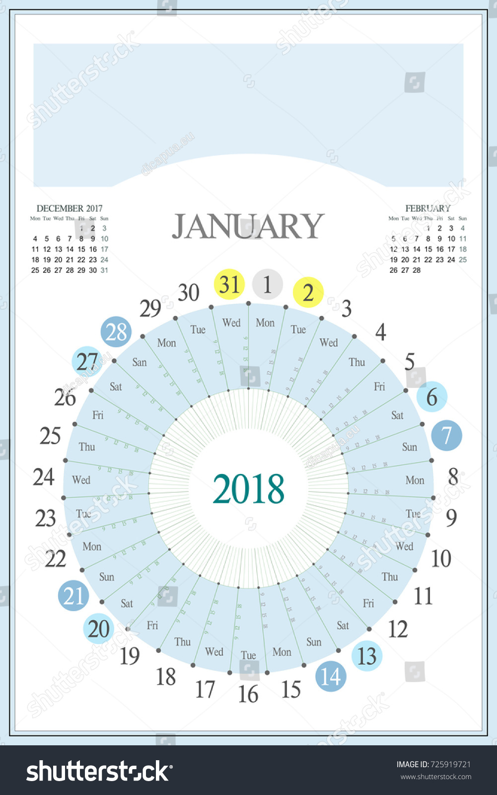 Monthly Calendar Planner 2018 January Highlighted Stock Vector ...