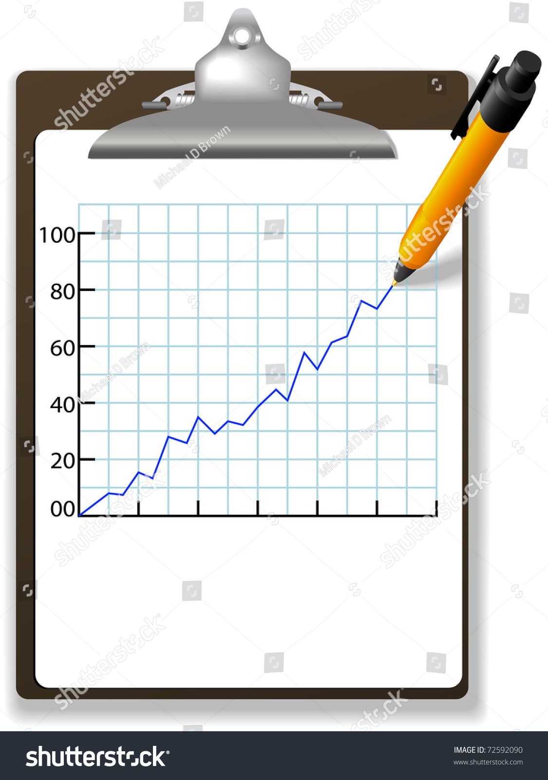 Pen Drawing Financial Growth Chart Graph Stock Vector Royalty Free