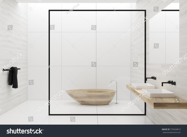White Tiles Bathroom Interior Tiled White Stock Illustration ...