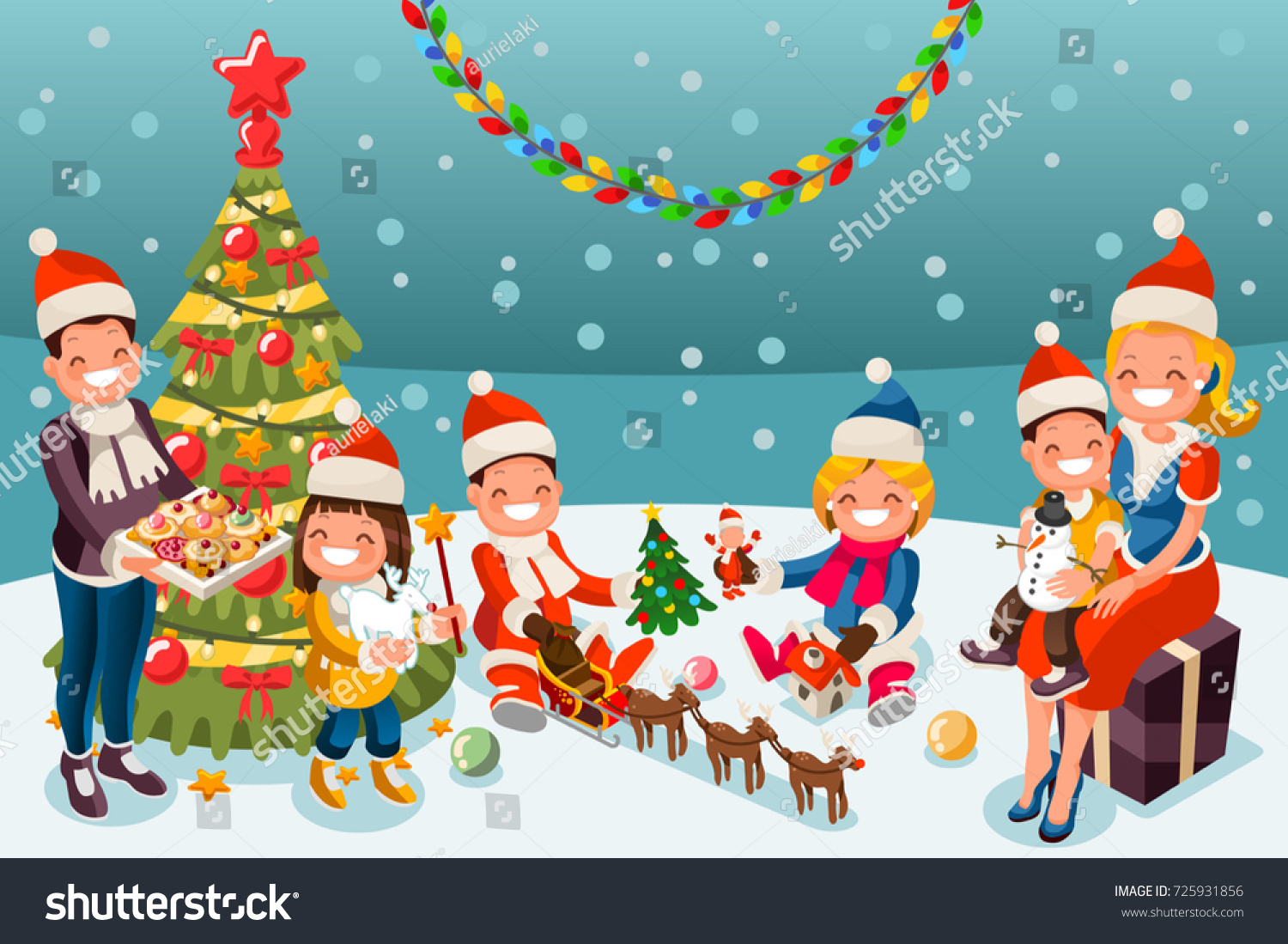 Winter Kids Christmas Party Night Family Stock Vector (Royalty Free ...