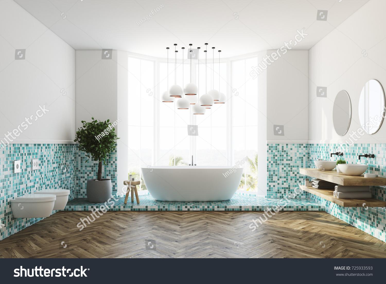 White Green Tiles Bathroom Interior Large Stock Illustration ...