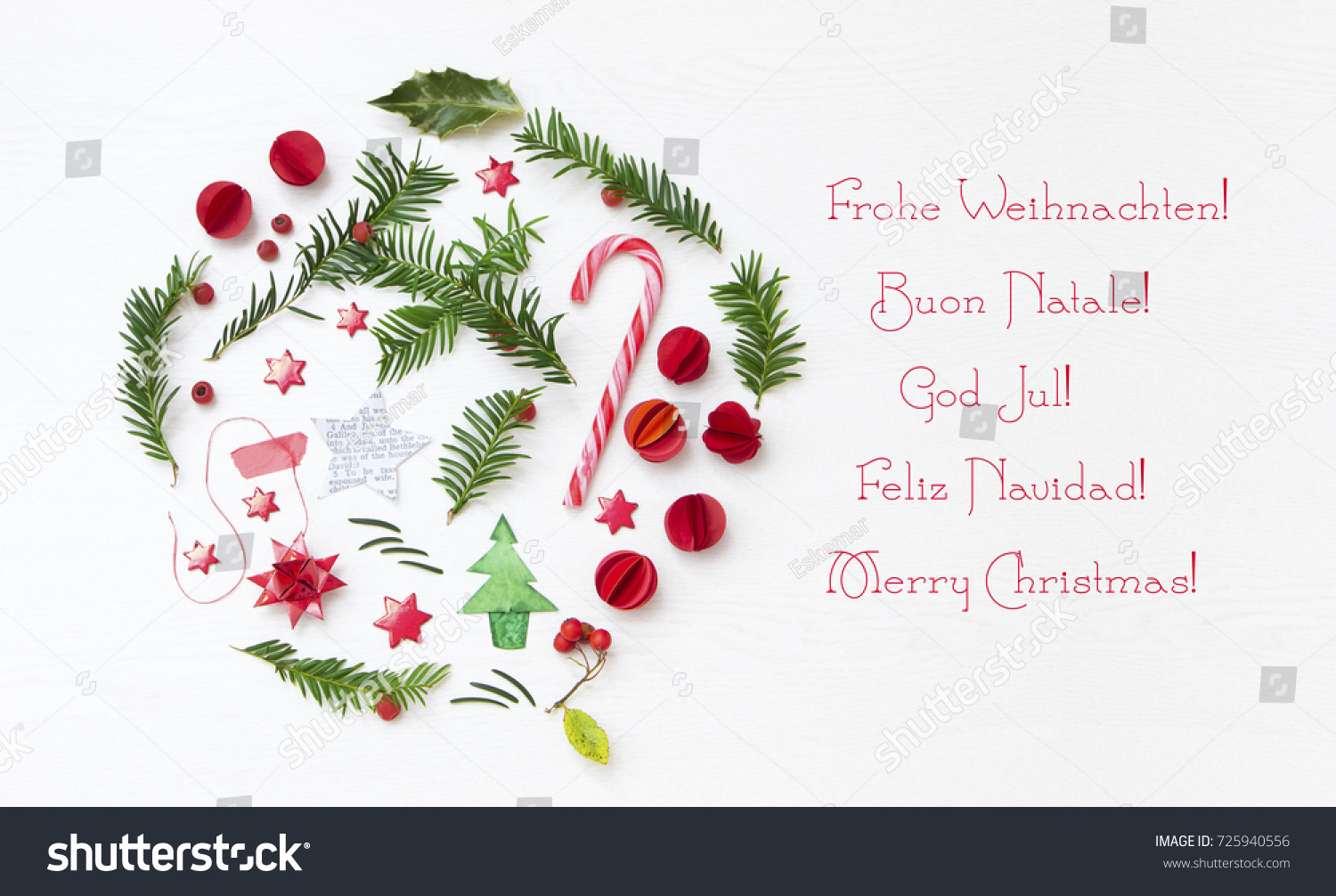 Merry Christmas Greetings International Stock Photo (Edit Now ...