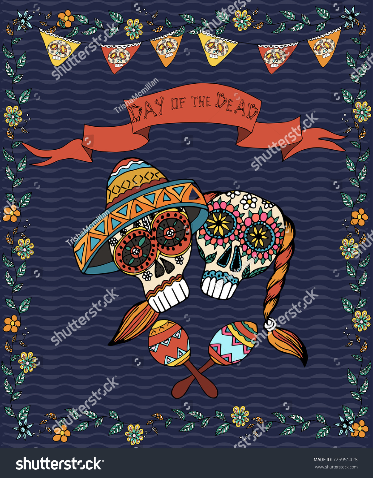 Mexican Day Dead Poster Hand Drawn Stock Vector Royalty Free