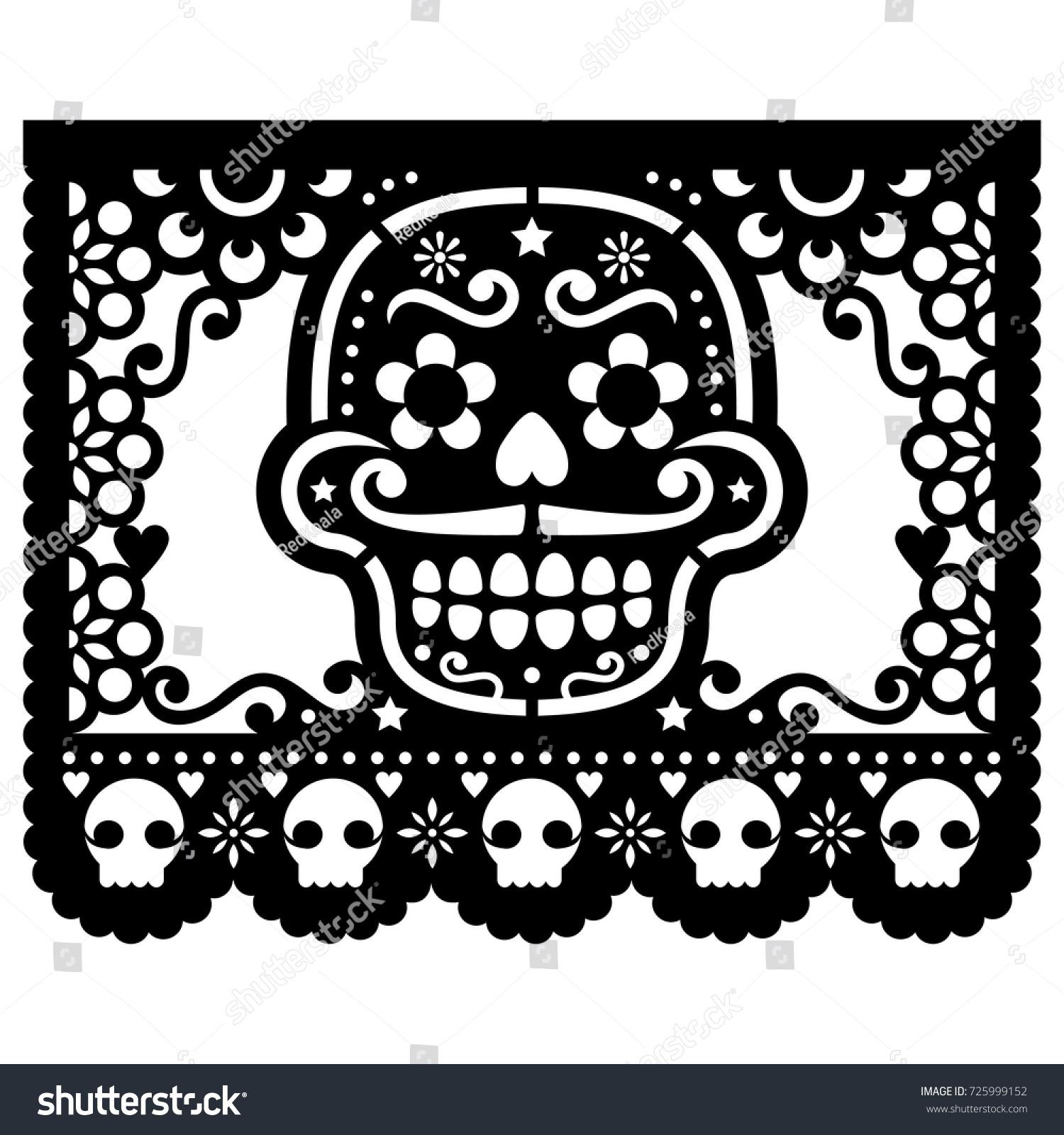 Mexican Sugar Skull Vector Paper Decorations Stock Vector Royalty