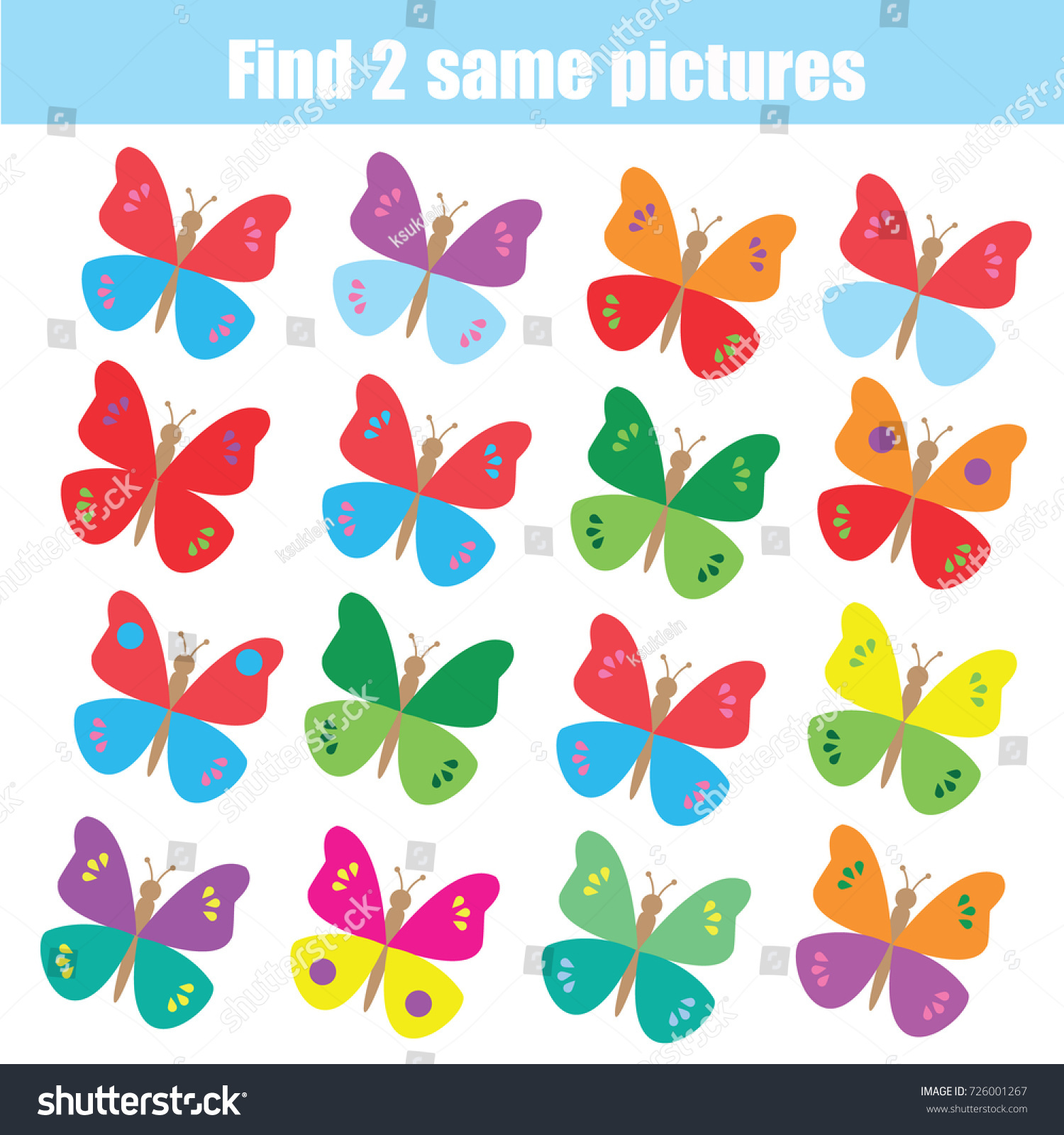 Uncategorized Images Of Butterflies For Children find same pictures children educational game stock vector the equal pairs of butterflies kids activity