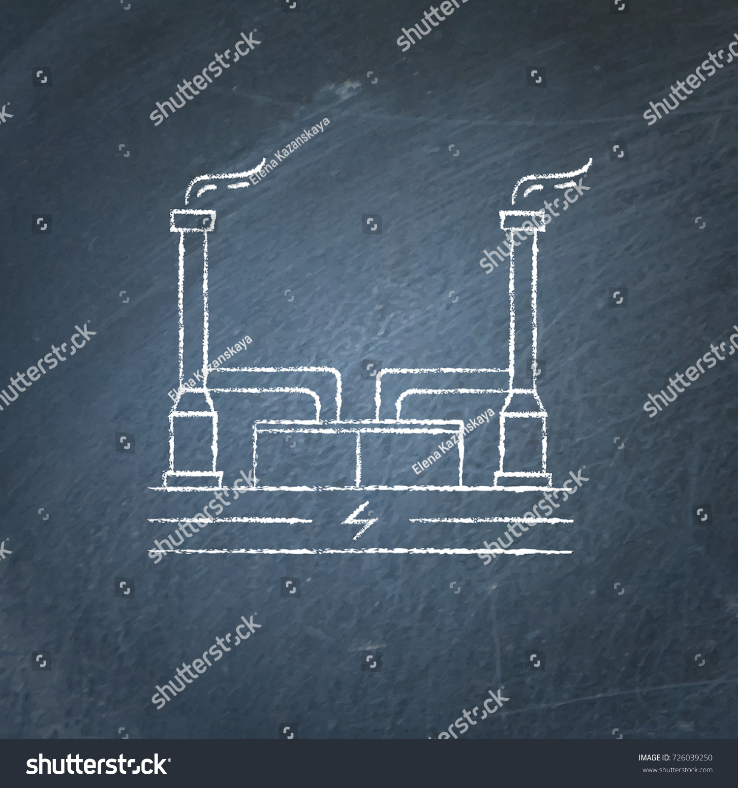 Outline Geothermal Power Plant Icon Sketch Stock Vector Royalty Schematic Diagram On Chalkboard Alternative Renewable Energy Concept Symbol Chalk