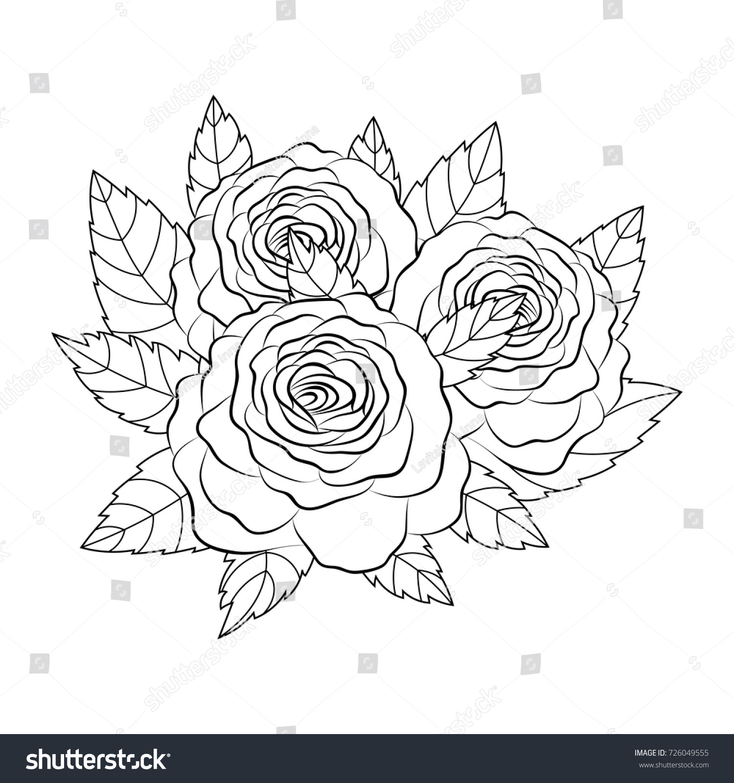 Sketch rose flower pencil sketch flowers with leaves on stem hand drawn contour