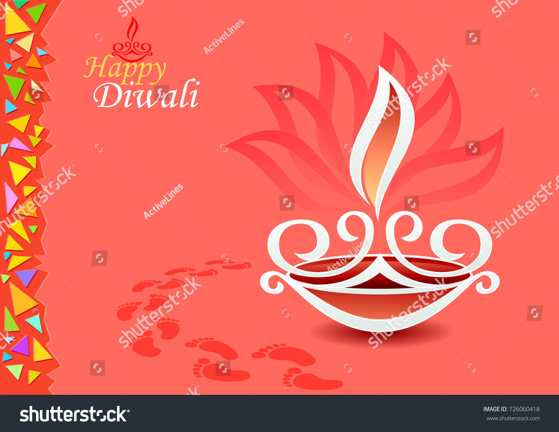 Origami Greeting Card Diwali Celebrations Stock Vector Royalty Free
