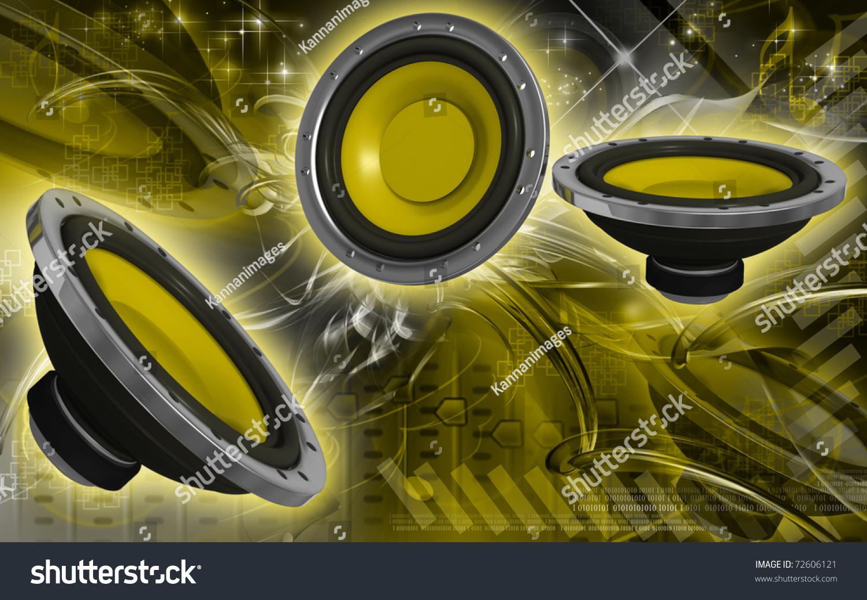 Digital Illustration Car Stereo Colour Background Stock Illustration 72606121