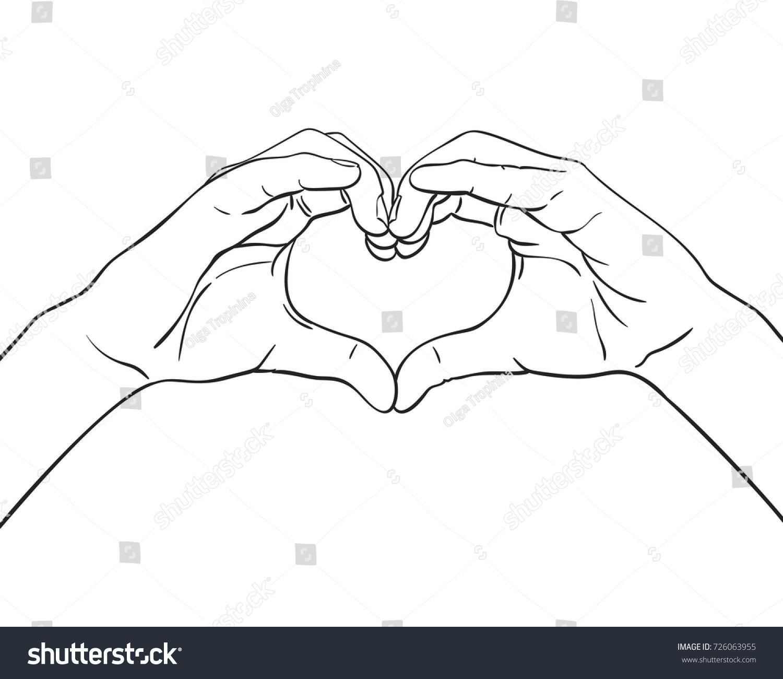 Line Art Heart Shape : Sketch hands showing heart shape gesture stock vector