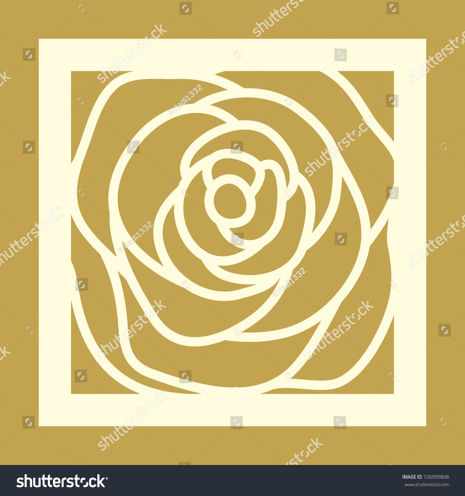 Laser Cut Square Template Rose Pattern Stock Vector Royalty Free