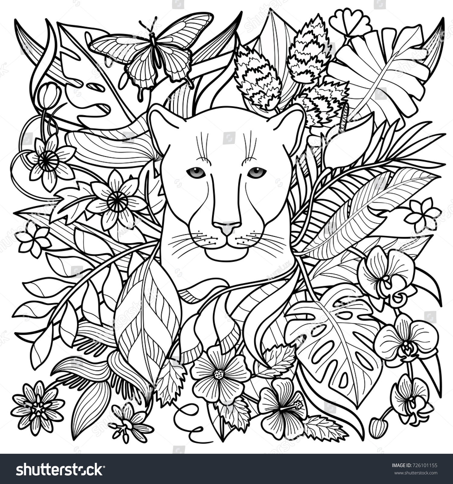 Jungle Pattern With Panther Flowers And Leaves Outline Coloring Page Textile Print