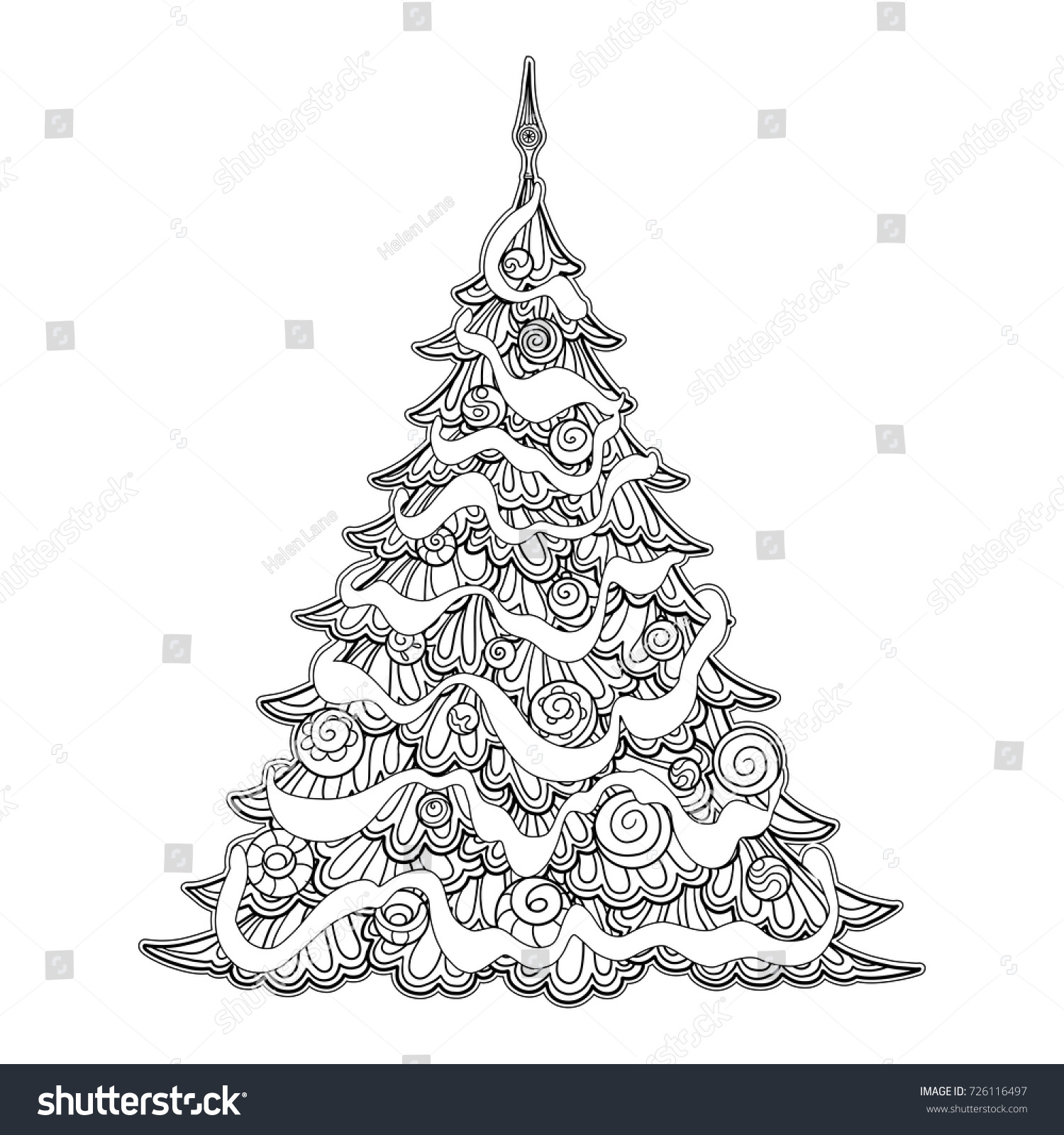 Contour Line Drawing Tree : Christmas tree contour drawing good coloring stock vector
