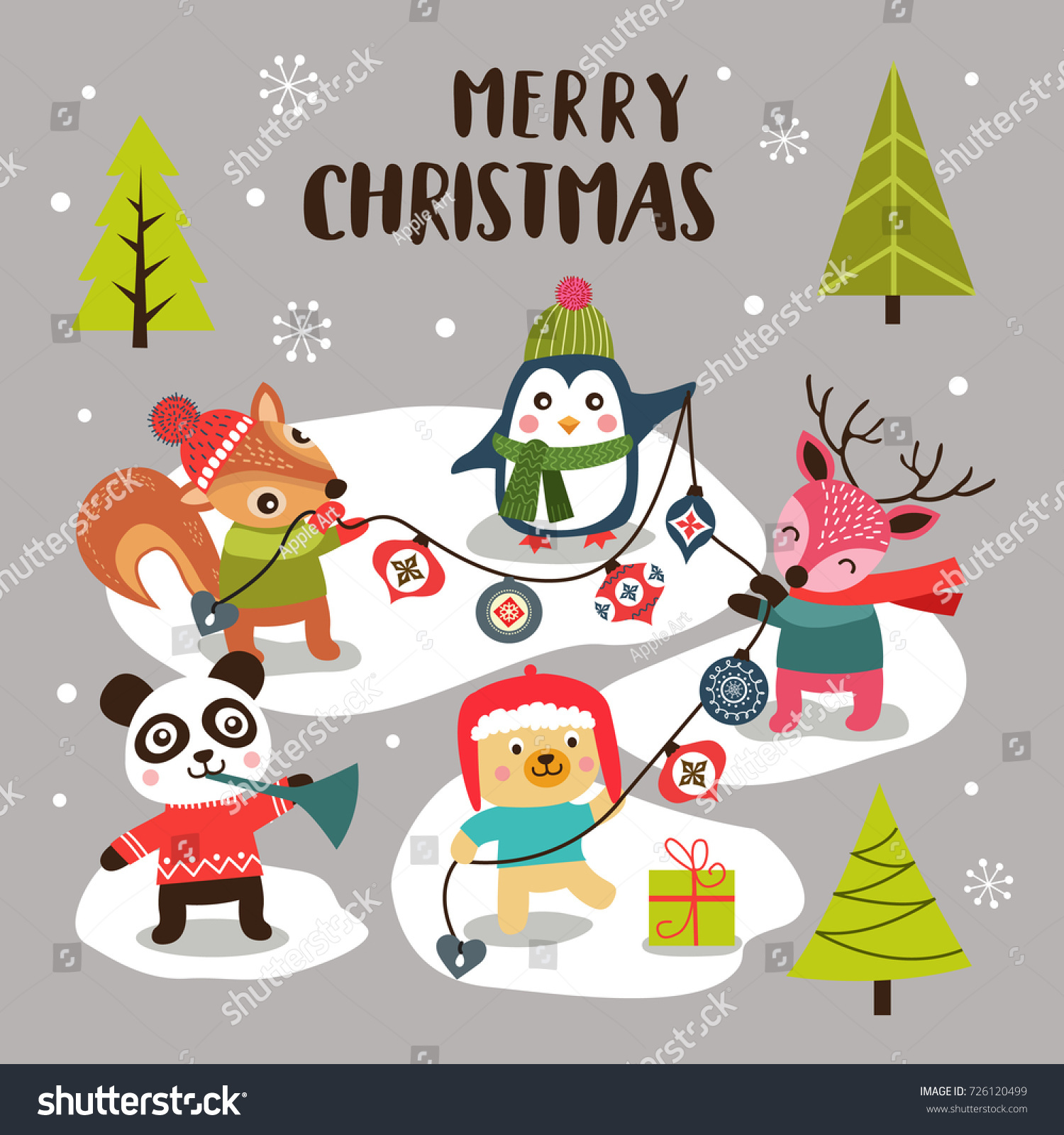 Merry Christmas Background Cute Cartoon Animals Stock