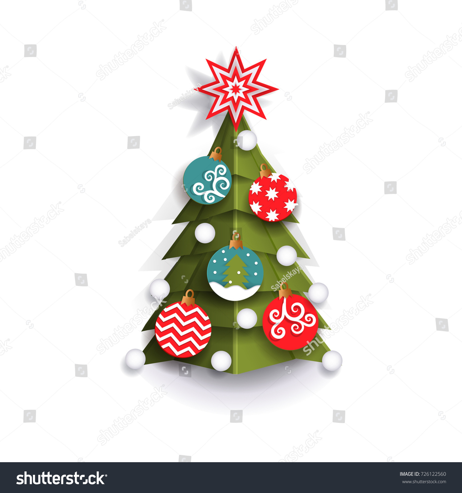 Christmas Tree Decoration Element Xmas Greeting Stock Vector ...