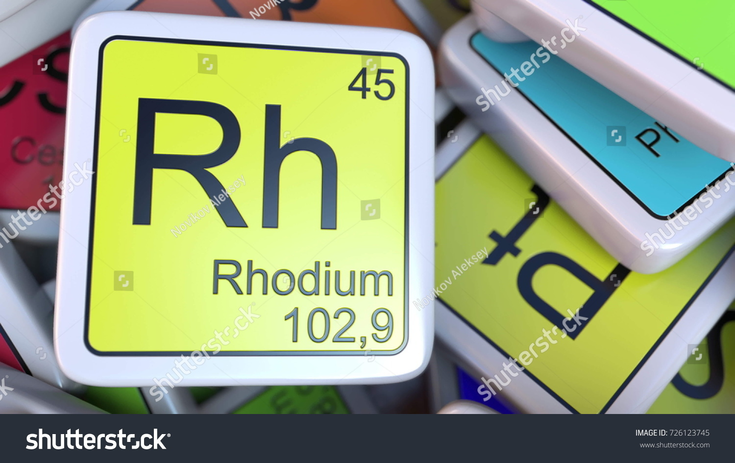 Rhodium on periodic table image collections periodic table images rhodium rh block on pile periodic stock illustration 726123745 rhodium rh block on the pile of gamestrikefo Image collections