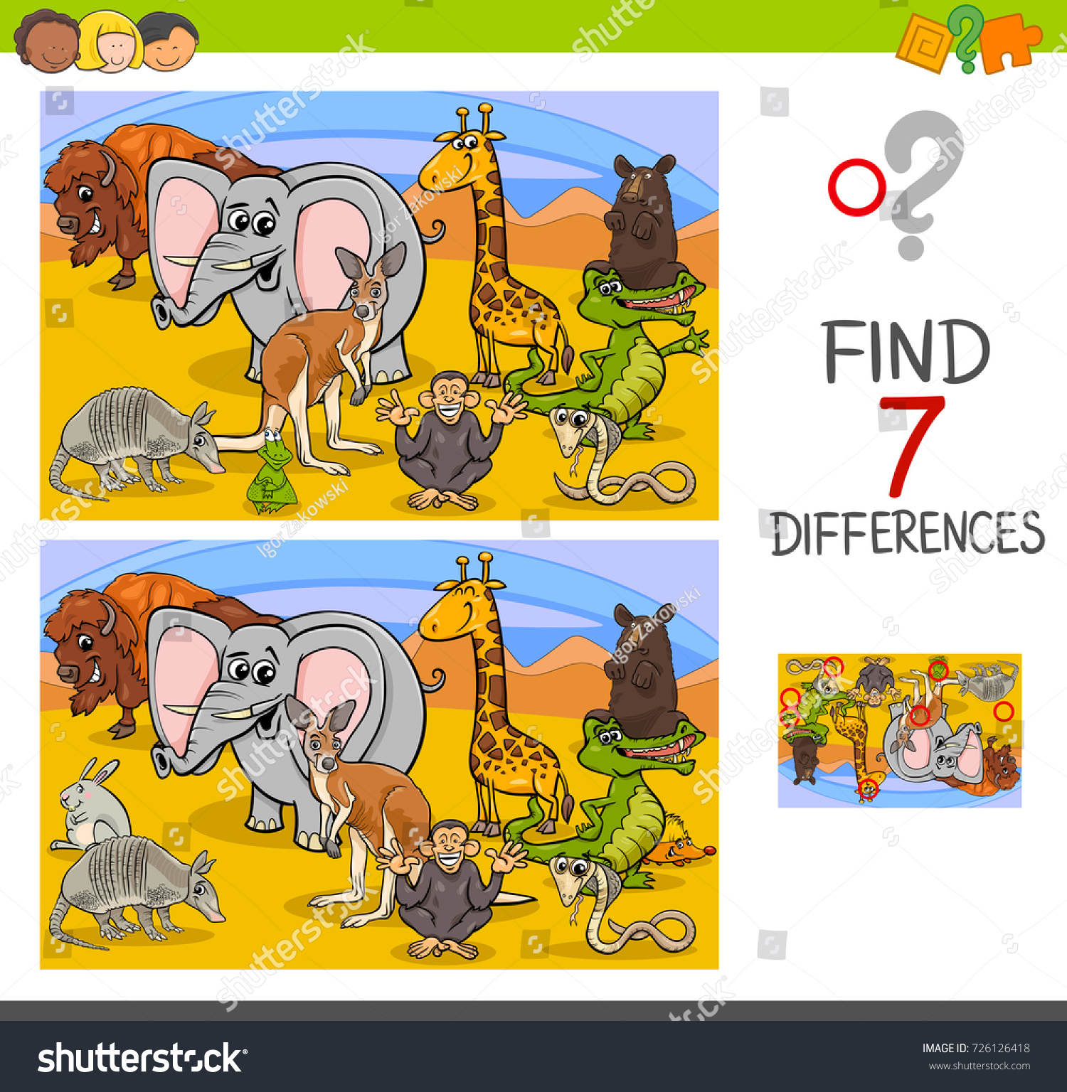 Cartoon illustration of searching differences between pictures educational activity game for children with wild animal characters