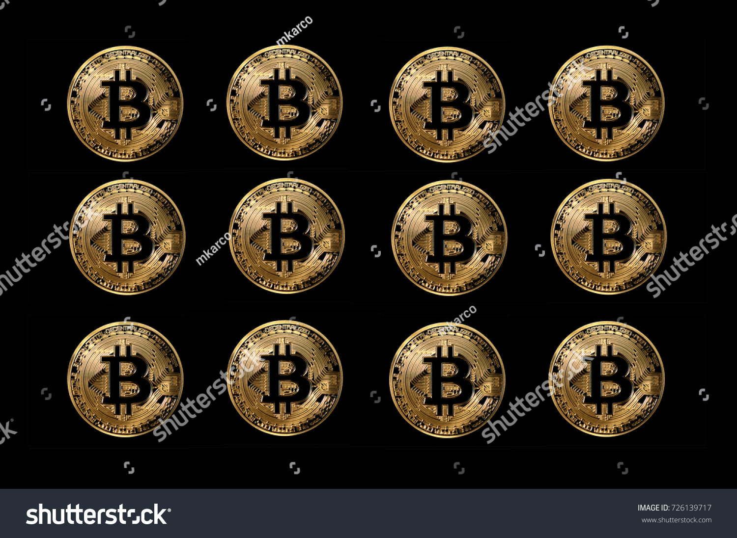 Set Of Bitcoin Coins Digital Currency Created For Use In Peer To Online Anonymous