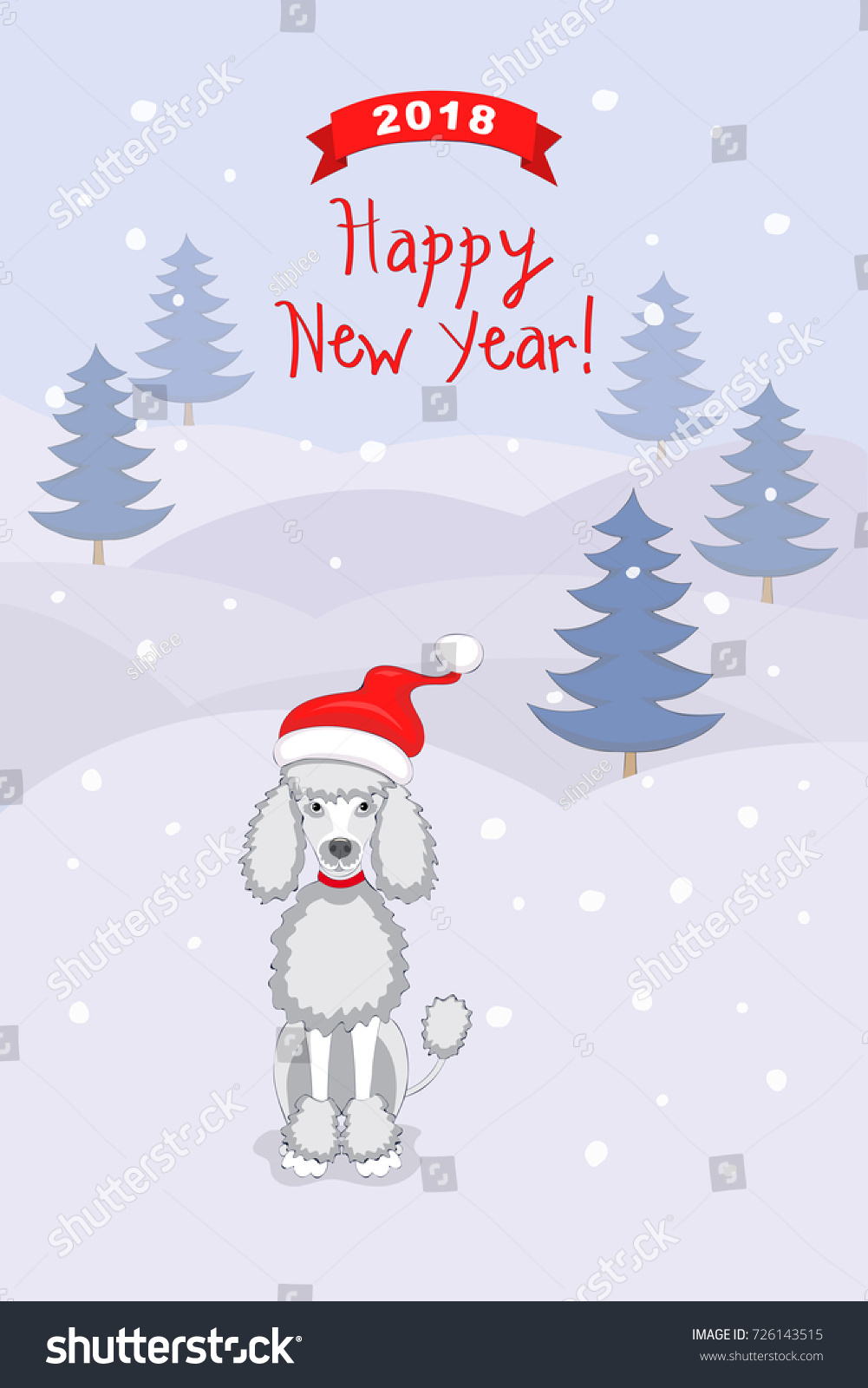New Year 2018 Card Cartoon Poodle Stock Illustration 726143515 ...