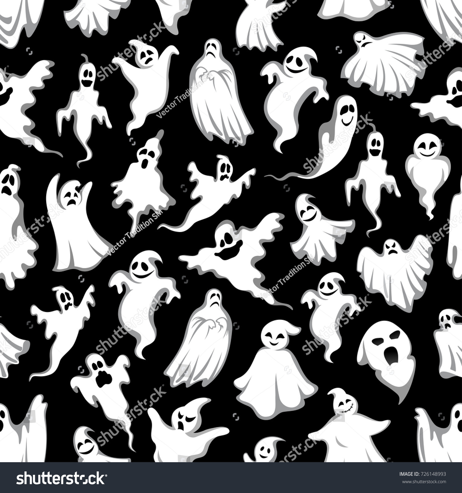 Spooky Ghost Halloween Holiday Seamless Pattern Vector – Scary or Horror Invitation Cards
