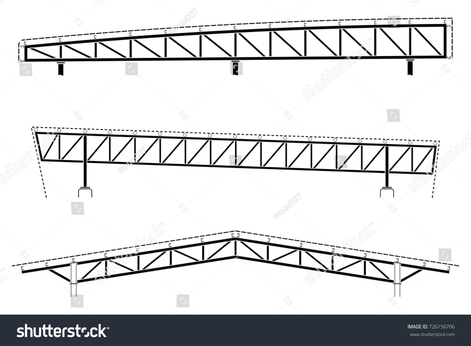 Roofing building steel frame detail roof stock vector for Roof truss sign