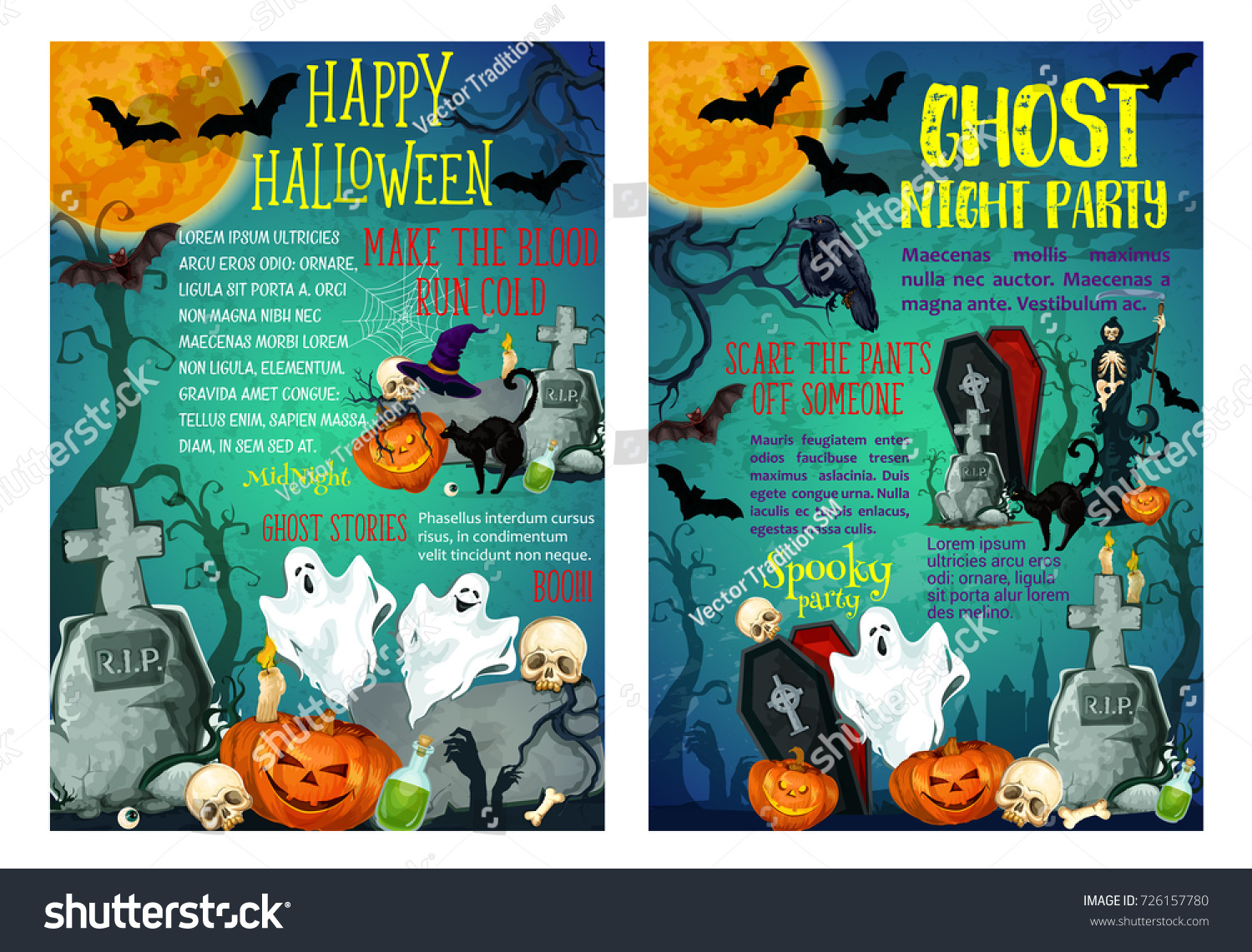 Halloween Spooky Ghost Party Invitation Posters Vector – Scary or Horror Invitation Cards