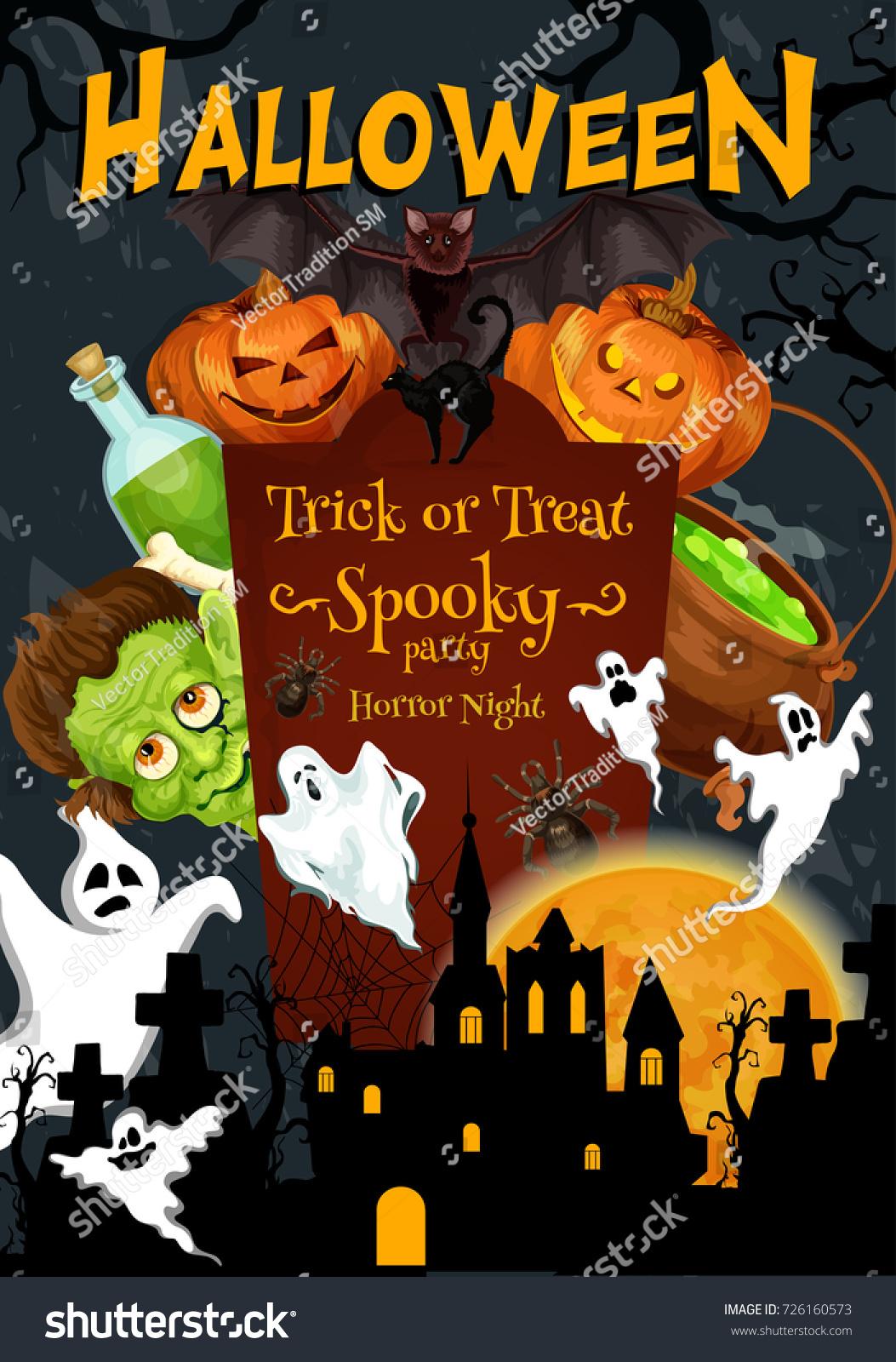 halloween trick treat night party pumpkin stock vector 726160573