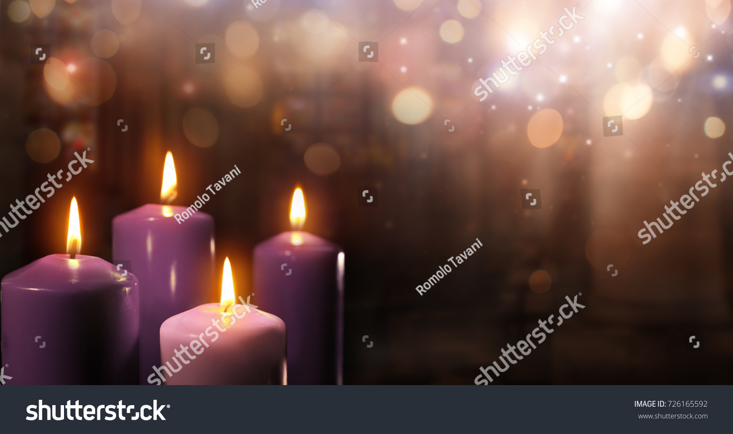 Advent Candles Church Three Purple One Stock Photo Edit Now