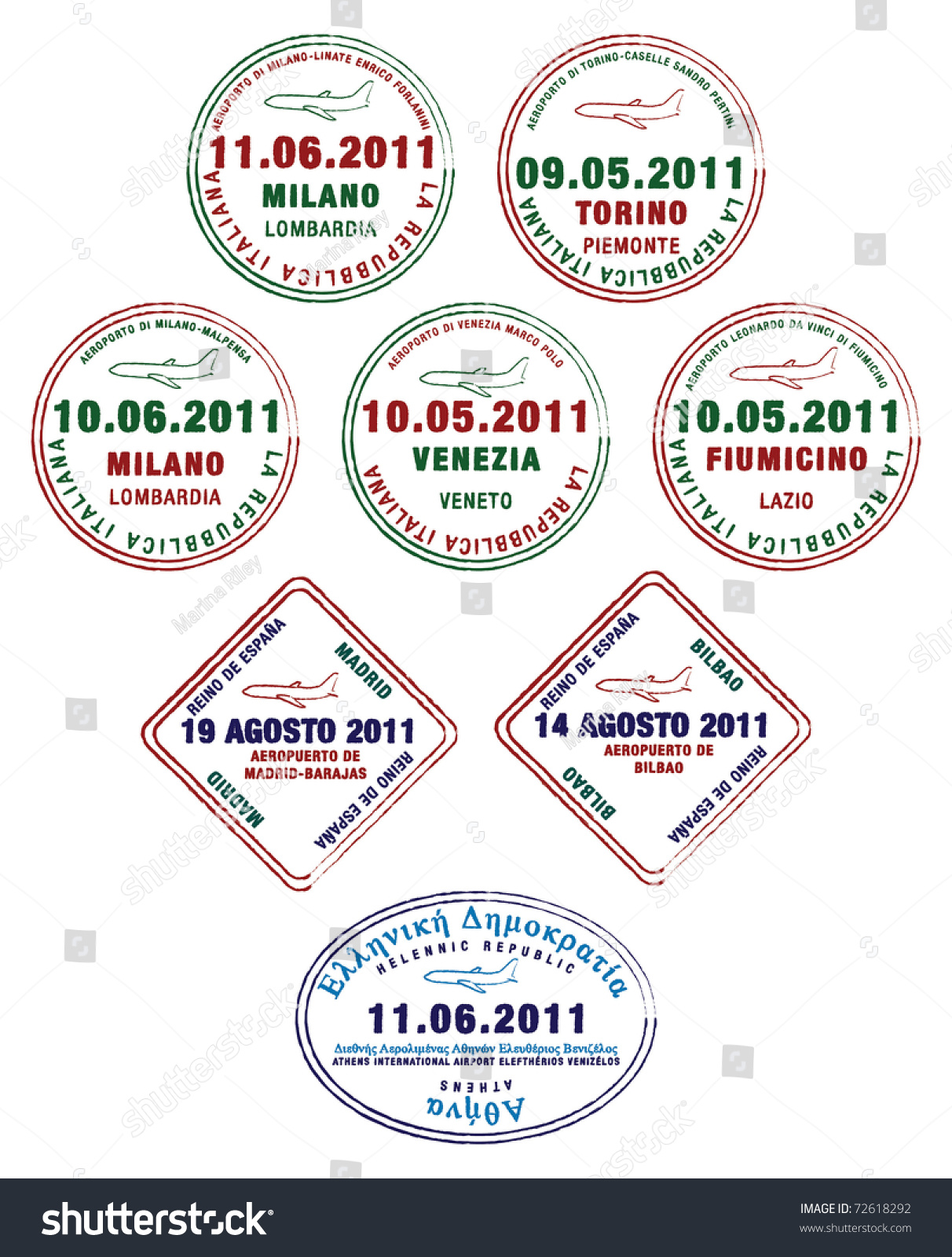 Passport stamps france italy greece vector stock vector 72618292 passport stamps from france italy and greece in vector format ccuart Choice Image