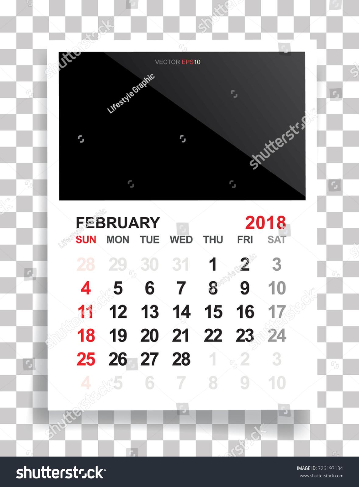 February 2018 Calendar Background Empty Photo Stock Vector ...