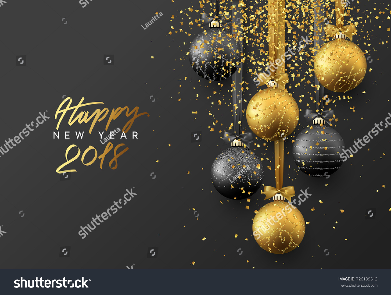 Happy New Year 2018 Christmas Greeting Stock Vector 726199513