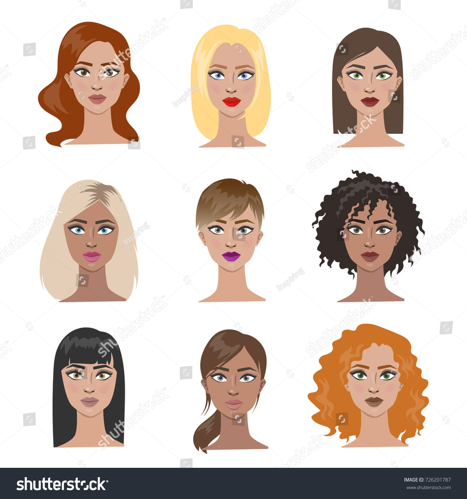 Female Hairstyles Set All Types Hair Stock Vector Royalty Free