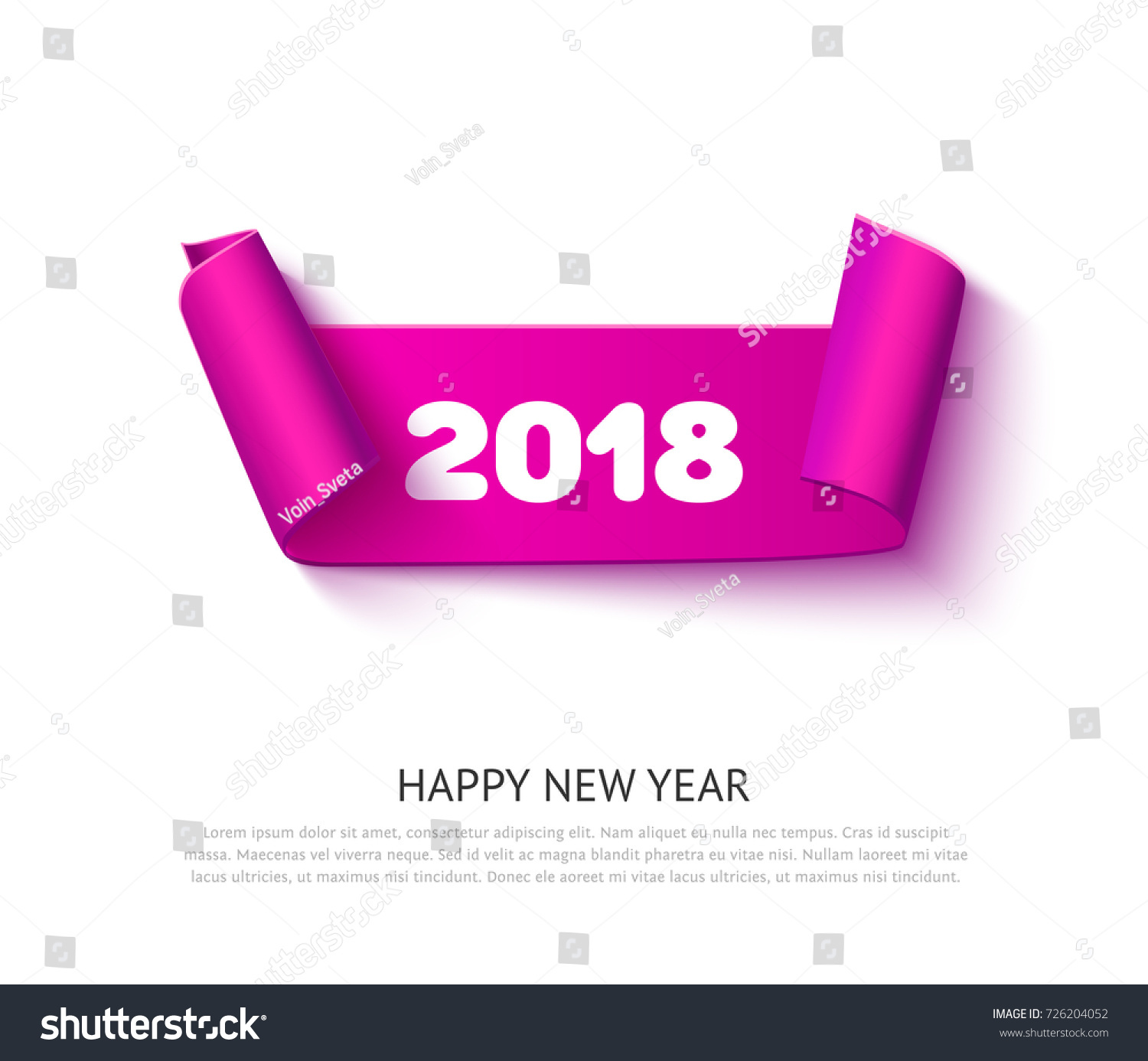 happy new year 2018 realistic vector pink ribbon for greeting card banner and invitation design