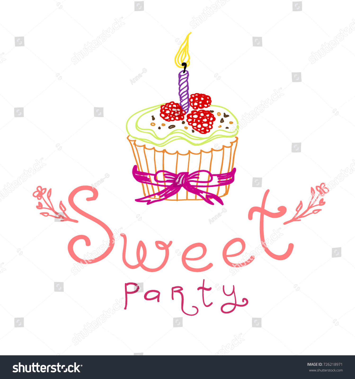 Sweet party invitation card birthday party stock vector 726218971 sweet party invitation card birthday party invitation cupcakes party vector illustration stopboris Images