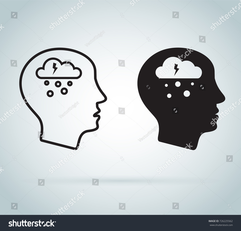 Depression Icon Mental Health Icons Depression Stock Vector 2018