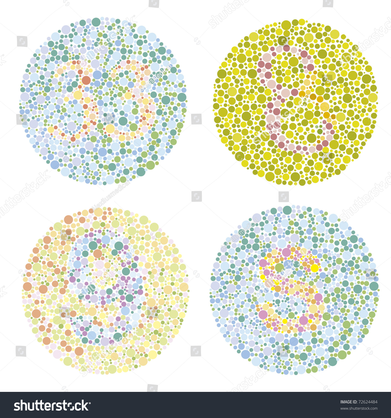 Four Examples Test Ishihara Letters Numbers Stock Illustration