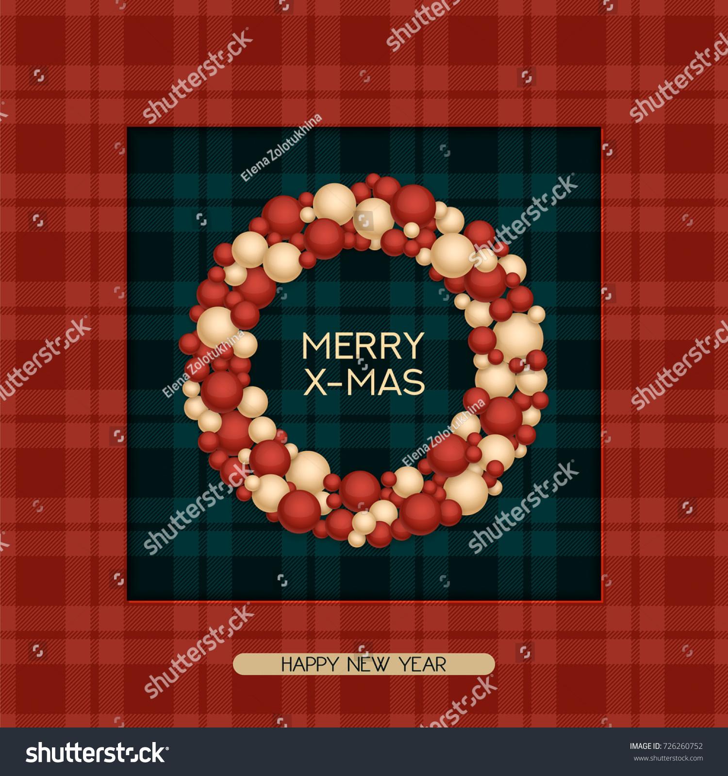 Vector Holiday Christmas Postcard Greeting Words Stock Vector