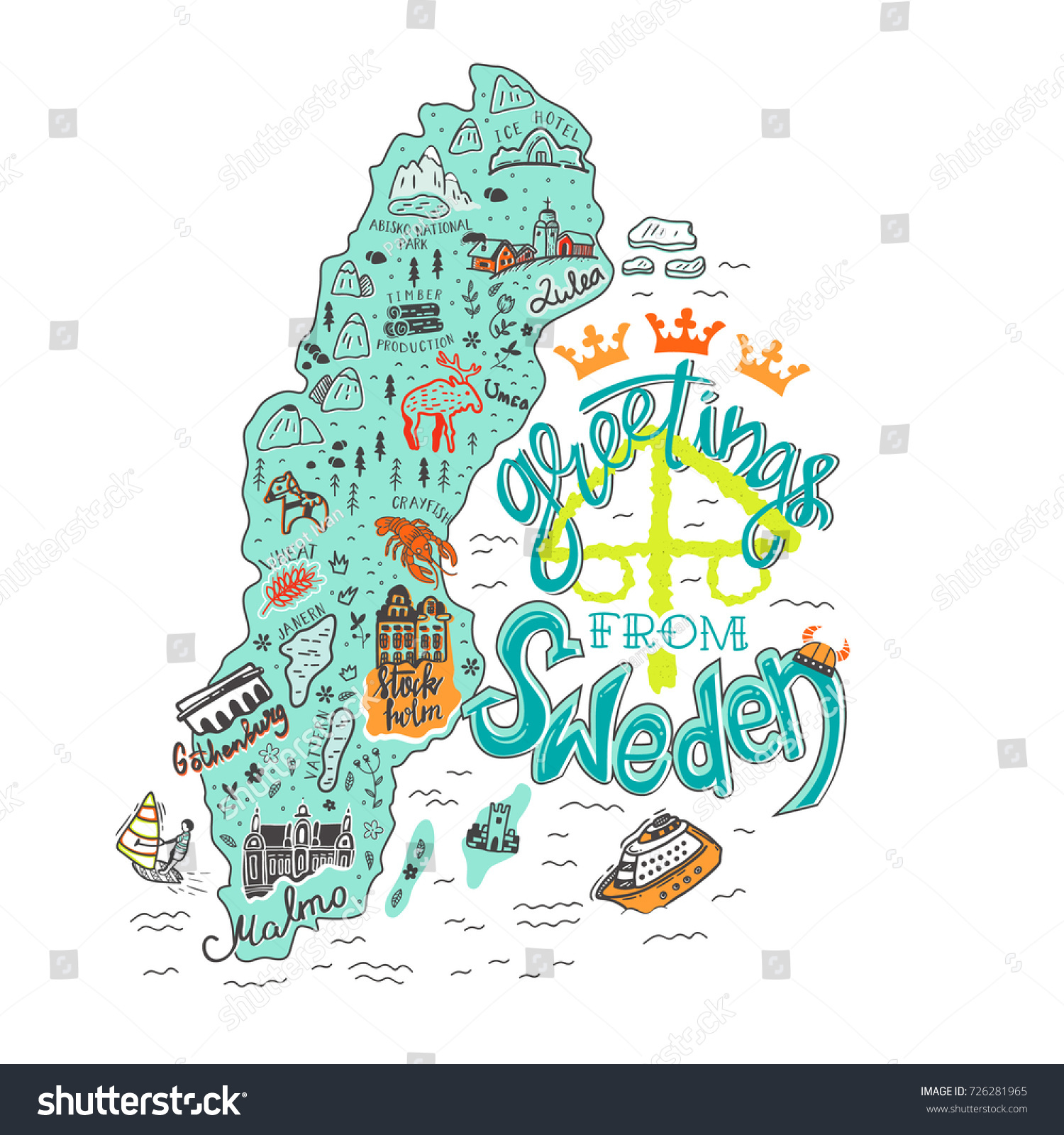 Hand Drawn Illustration Sweden Map Tourist Stock Vector - Sweden map tourist