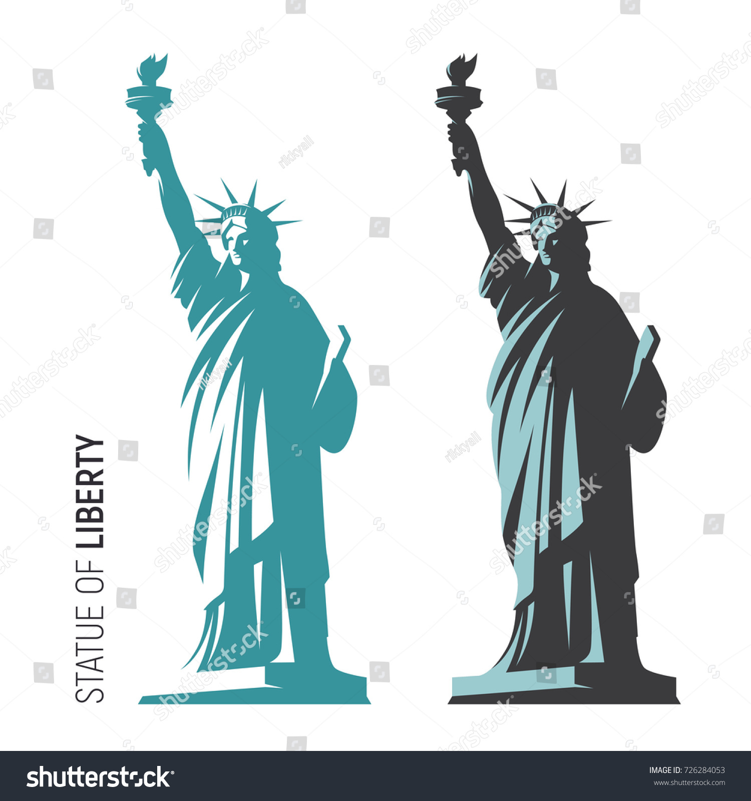 Vector illustration of the Statue of Liberty in New York City. Symbol, emblem, label, logo design.