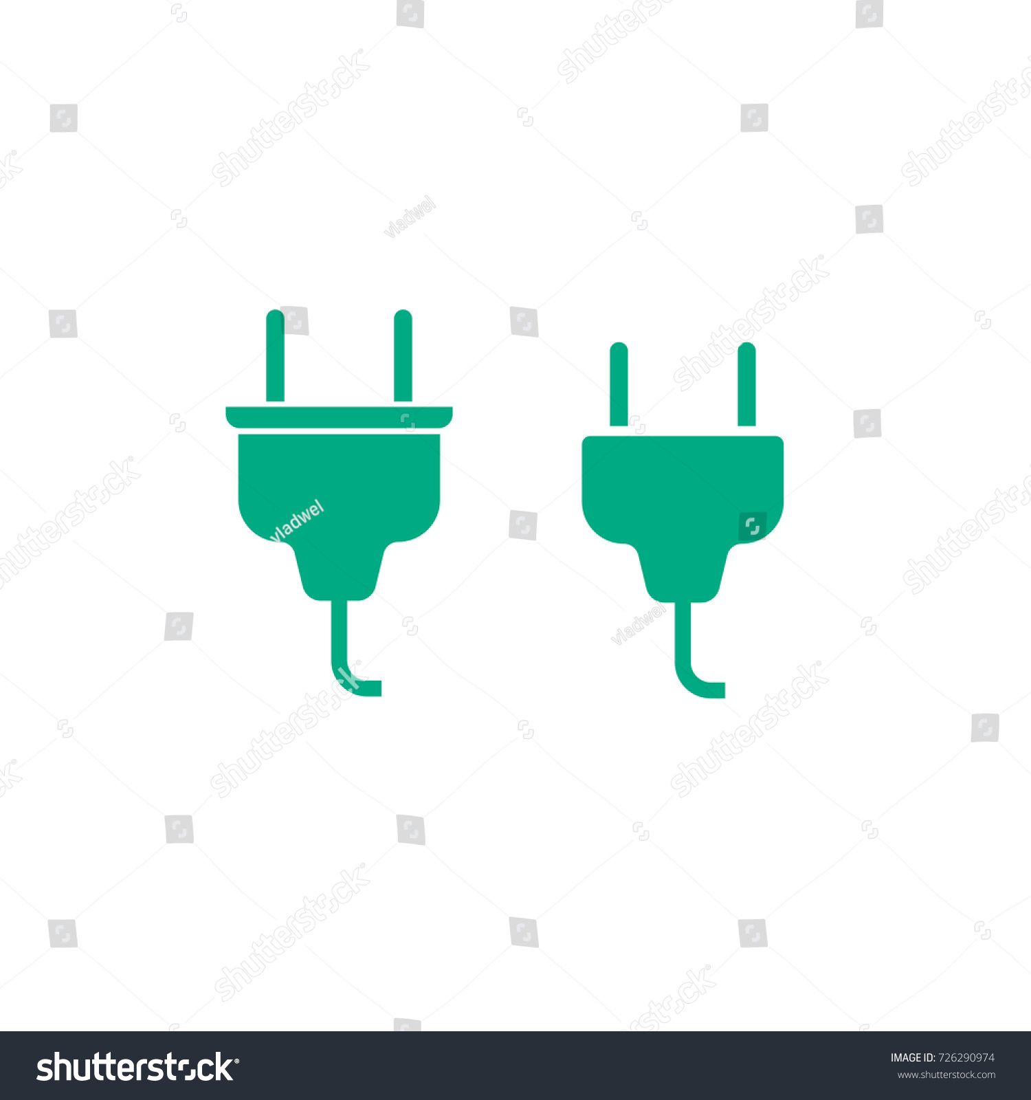Electric Plug Cable Connector Icon Illustration Stock Illustration