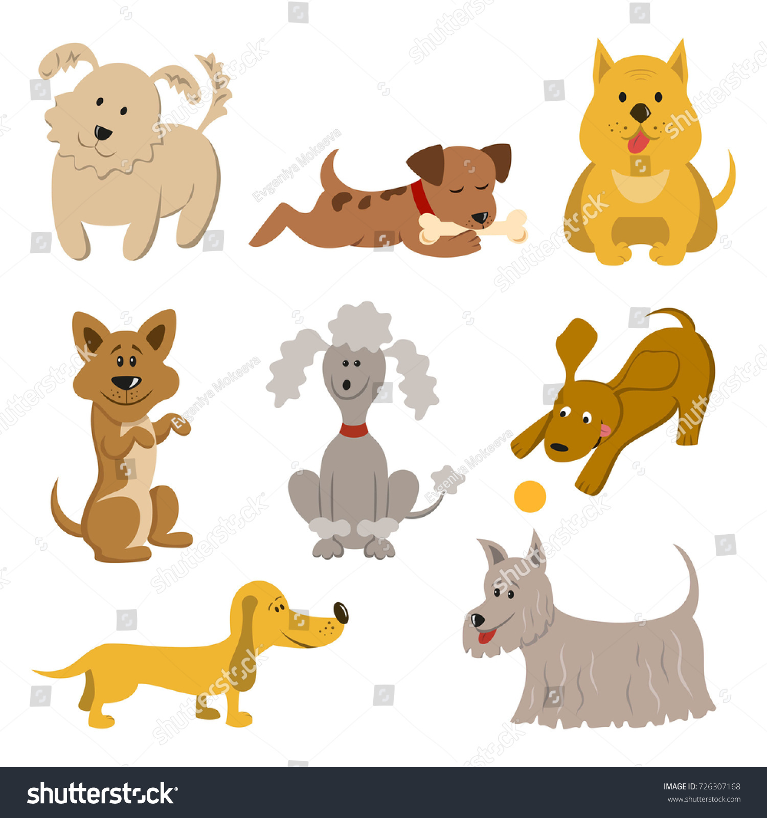 set of funny cartoon dogs on white background symbol of chinese new year 2018