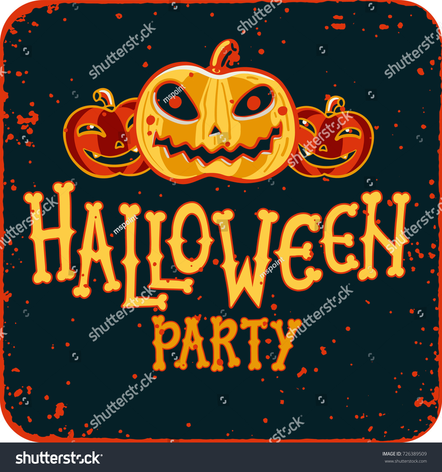 Invitation Halloween Night Party Vintage Card Stock Vector 726389509 ...