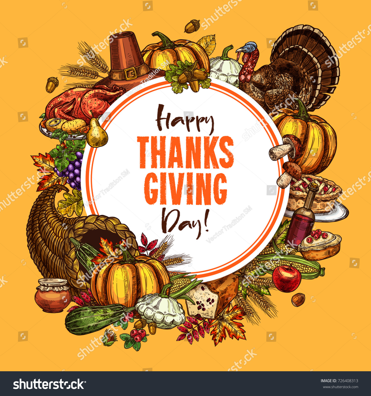 thanksgiving day poster traditional roasted turkey stock vector