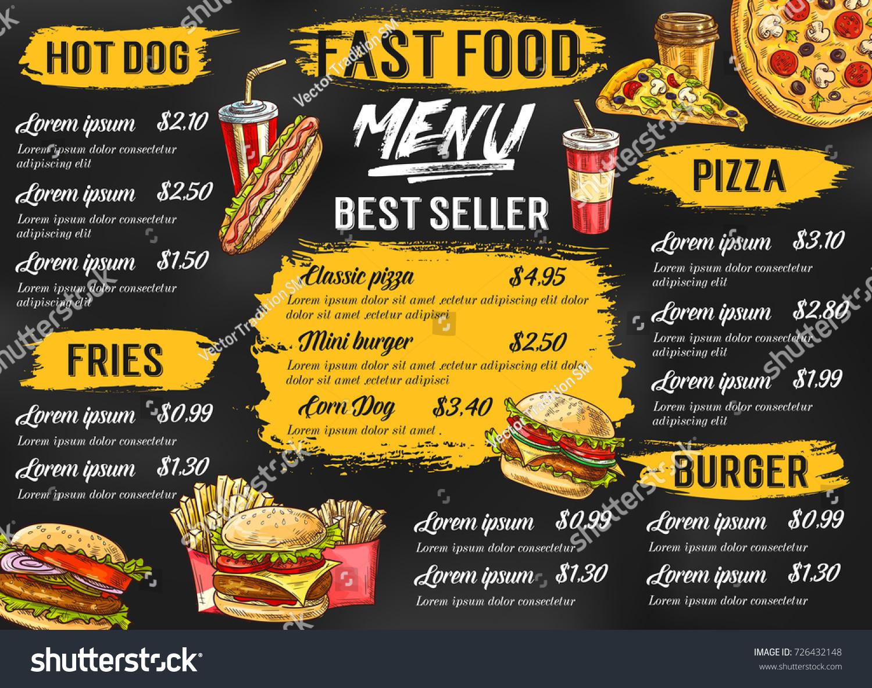 Food Menu Template | Fast Food Menu Template Fastfood Restaurant Stock Vektorgrafik