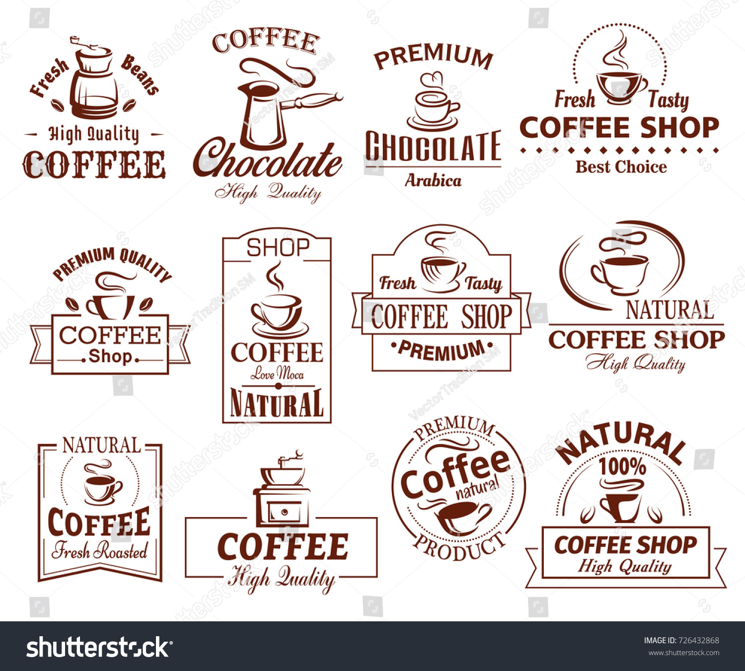 Coffee cup icons template coffeeshop coffeehouse stock vector coffee cup icons template for coffeeshop of coffeehouse and cafeteria vector set of coffee makers malvernweather Image collections