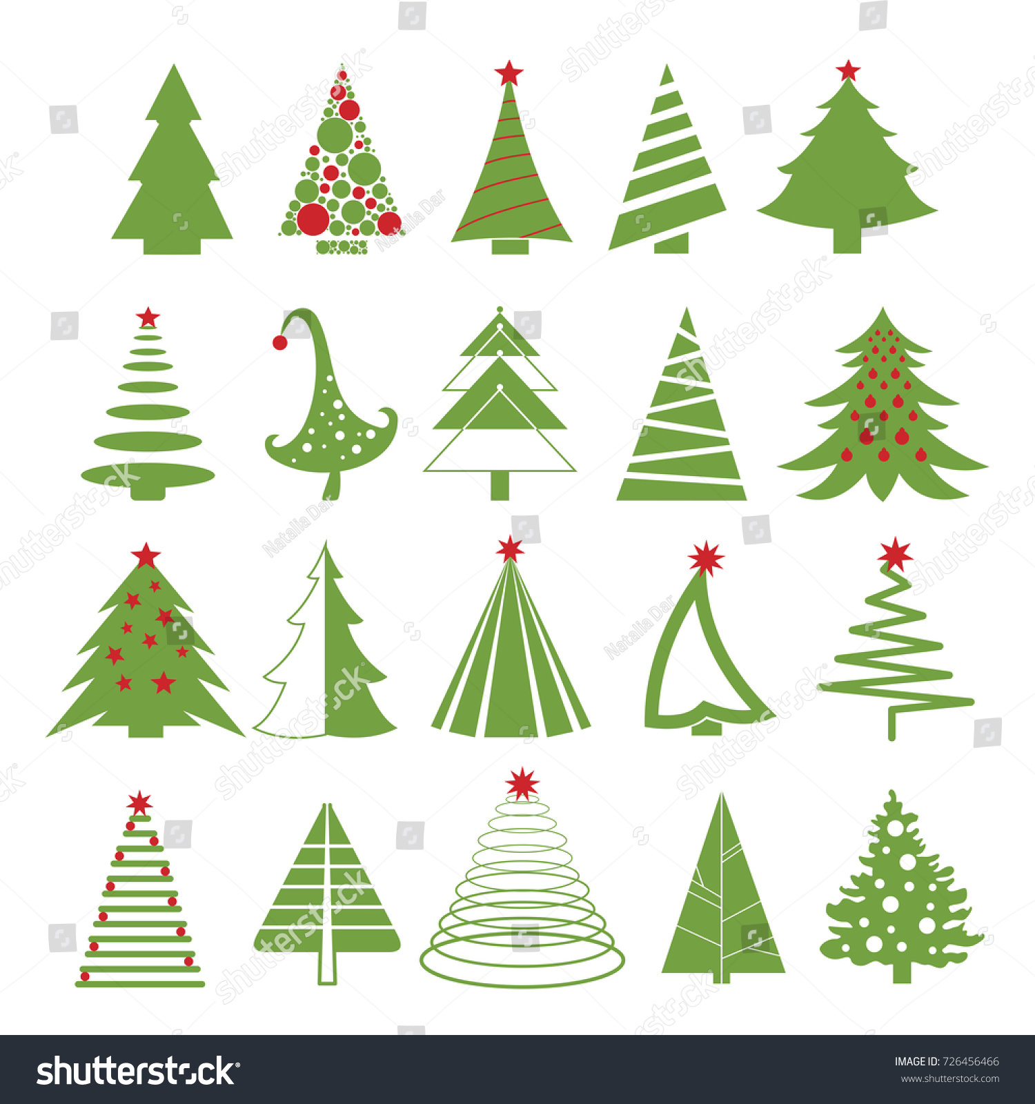 Vector Illustration Set Christmas Trees Red Stock Vector 726456466 ...