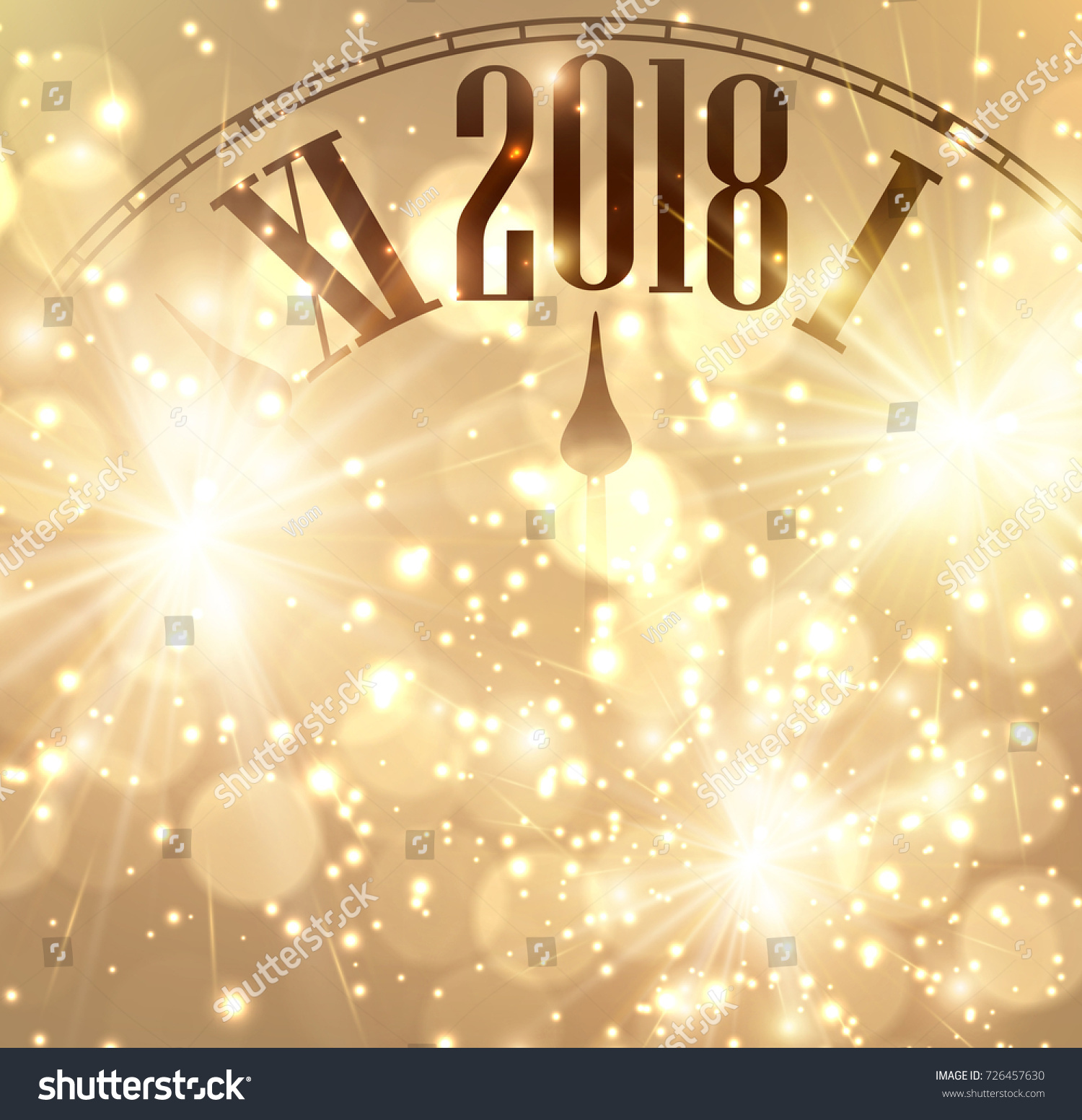 2018 new year shining background with clock vector illustration