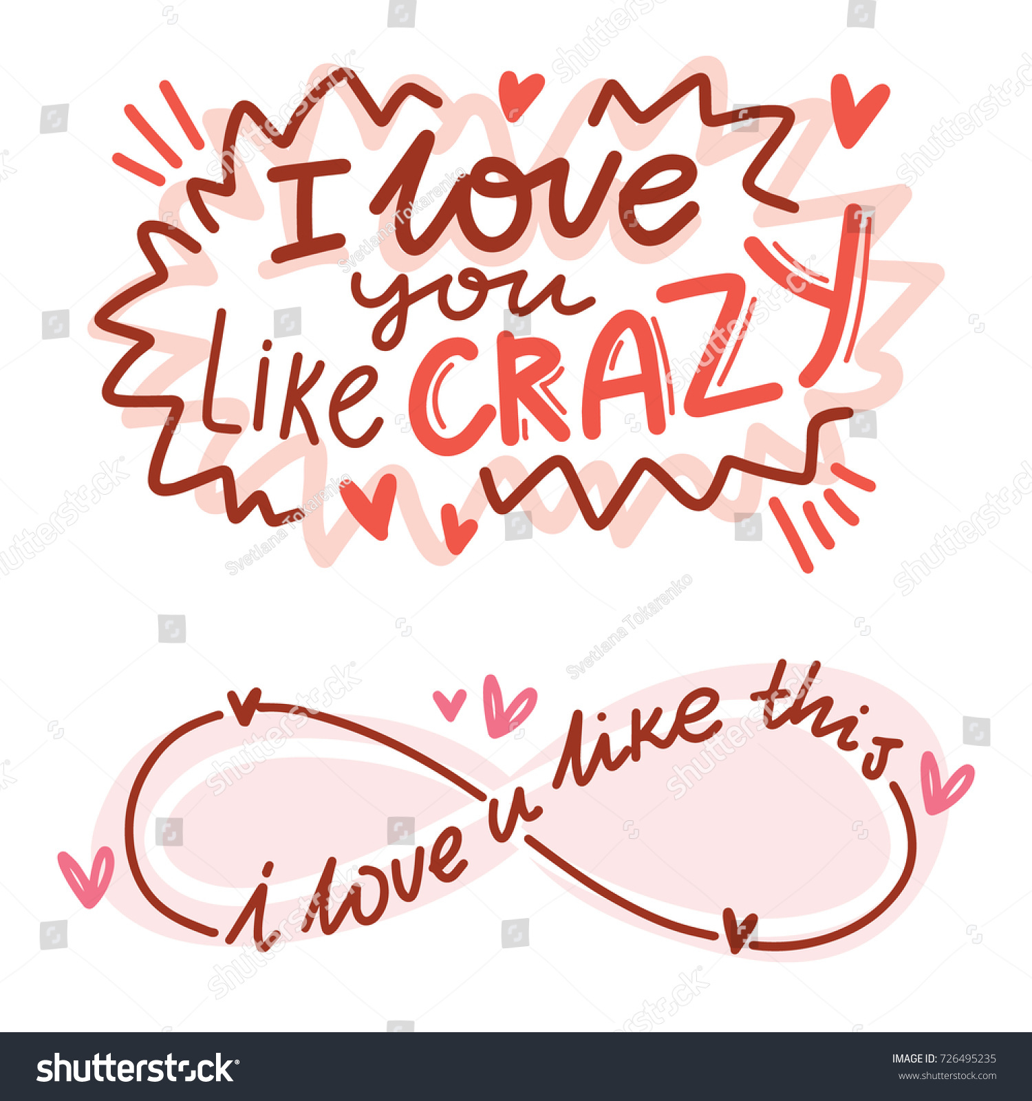 Cute Modern Calligraphy Phrases Illustrations Hearts Stock Vector